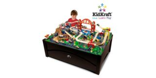 New 100 Piece Wood Train Set Table w Trundle Activity Tracks Play Toy