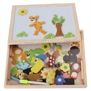 Multifunctional Wooden Magnetic Puzzle Drawing Writing Board Children Toy