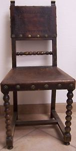 Antique 19th Century Spanish Colonial Hand Tooled Leather Carved Chair