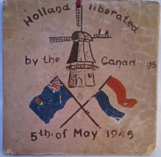 World War II Hand Painted Tile Celebrating Canadian Army Freeing Holland