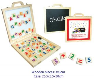 Magnetic Activity Case Wooden Case Alphabet Numbers Chalkboard and Whiteboard