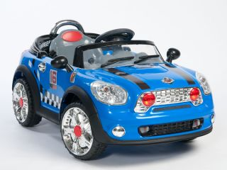 Ride on Car Electric Power Wheels Kids w  Remote Control RC Blue 2 Motors