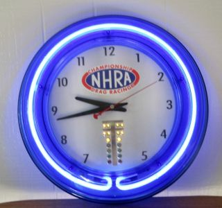 "Vintage NHRA Drag Racing Wall Clock with Lighted Case Working ""Tree"" VG"