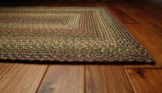 Ultra Durable Washable Braided Area Rug Rectangle Indoor Outdoor Beige Red Green