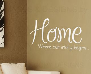 Wall Decal Quote Sticker Vinyl Art Letter Where Our Story Begins Home Family H08