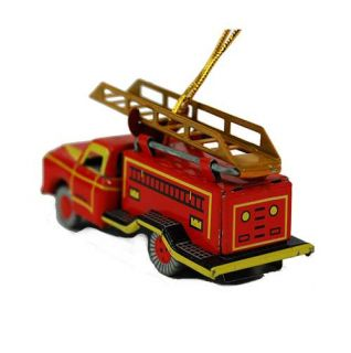 Tin Toy Fire Truck Ornament Retro Style Vintage Christmas Tree Decoration New 3""