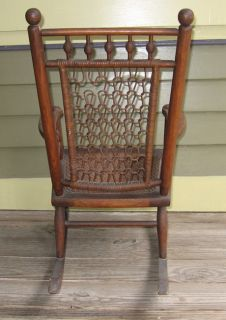 Charming Childs Civil War Era Early Victorian Stick Ball Rocking Chair