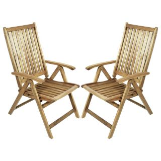 River Cottage Gardens Acacia 5 Position Folding Patio Chair 2 Pack