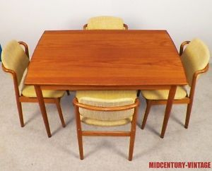 Vintage Danish Modern Teak Dining Set Chairs Table Pull Out Leaves 1950s 1960s