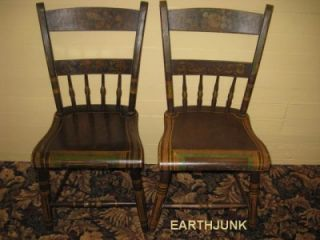 Early American Antique Folk Art Hand Painted Chairs