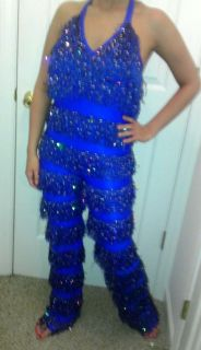 Dance Costume Blue Fringe Cowgirl Jazz Clogging Tap Acro Solo Pageant Talent s M