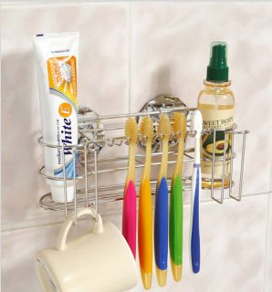 Wire Toothbrush Tumbler Holder Stainless Steel Rack Bathroom Wall Mounted Hanger