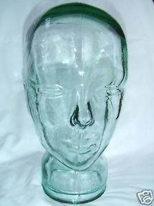 "Retro Vintage Glass Head Mannequin ""Life Sized"" Hat Wig Headphones Display"