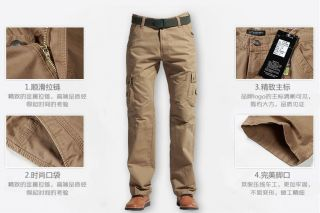 Fashion Men's Casual Cargo Loose Outdoor Combat Pocket Long Jeans Pants Trousers