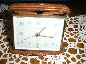 Vintage Florn Jewel Germany Leather Case Travel Alarm Clock Brass not Working
