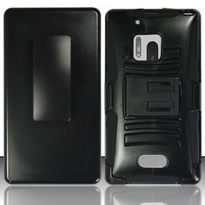 Verizon Nokia Lumia 928 4G Black Stand Armor Holster Belt Clip Combo Case Cover