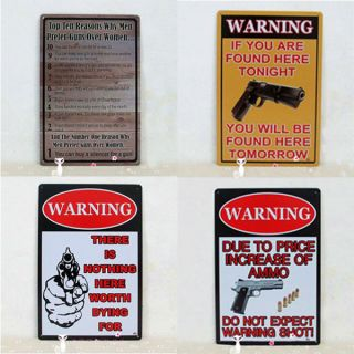 Safety Garage Warning Gun Pistols Ammo Men Cave Tin Metal Sign Home Wall Decor