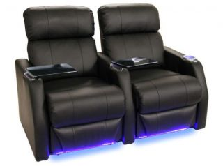 Sienna Home Theater Seating 2 Seats Black Manual Bonded Leather Chairs