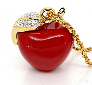 Kenneth Jay Lane KJL Large Classic Red Apple Necklace