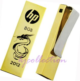 HP 8GB 8g USB Flash Pen Drive Tie Bar Clip Gold Dragon V218G