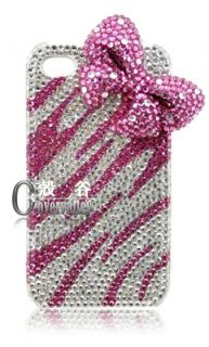 Bling Pink 3D Bow Swarovski Hard Cover Case iPhone 3G 3GS 4 4G 5 5g A2