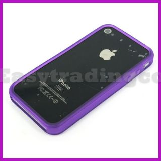 Purple Rubber Bumper Case Cover for iPhone 4 4G