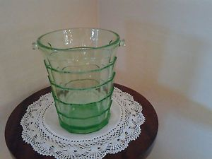 Green Depression Glass Ice Bucket