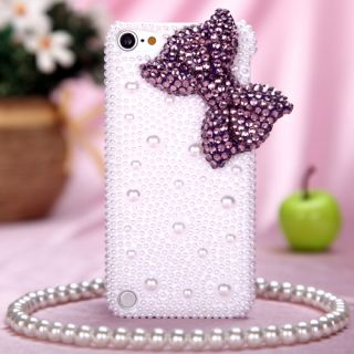For Apple iPod Touch 5th Generation Case Cover Pearl 3D Diamond Purple Bow
