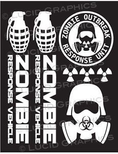 """Zombie Response Team"" Vinyl Decal Sticker Set Vehicle Horror Funny Gas Mask"