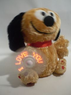 "Gemmy 10"" Animated Singing Lighted ""Fan Spinning"" ""I Love You"" Plush Puppy Dog"