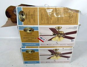 Lot 2 Hampton Bay Lighted Ceiling Fan Lyndhurst Antique Brass Finish Walnut
