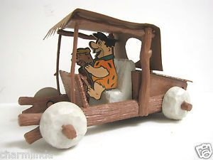 1960's Flintstones Remco Battery Powered Sports Car Fred Barney Rubble