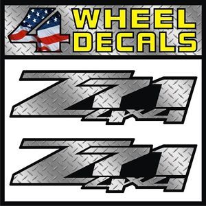 Diamond Plate Z71 4x4 Decals Stickers Labels Chevy Silverado Sierra Colorado