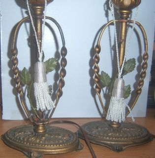 Pair Antique Art Nouveau Boudoir Vanity Candelabra Table Lamps Leaf Decor C1910