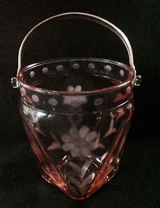 Vintage Pink Depression Glass Ice Bucket