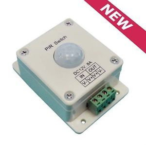 White PIR Motion Sensor Switch for Lighting Light Lamp DC 12V 8A