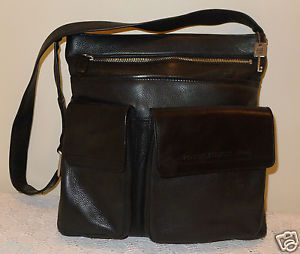 Fossil Soft Black Leather Organizer Shoulder Bag Beautiful with Key