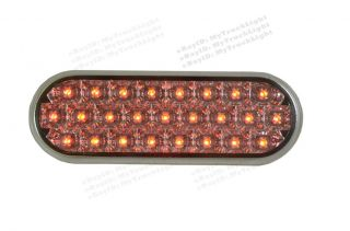 "6"" Oval 25 Red LED Clear Truck Trailer CLEARANCE Side Marker Brake Tail Light"