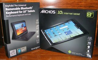 8GB Archos 101 Internet Wi Fi Tablet Kensington Bluetooth Keyboard Case Mint 690590515901