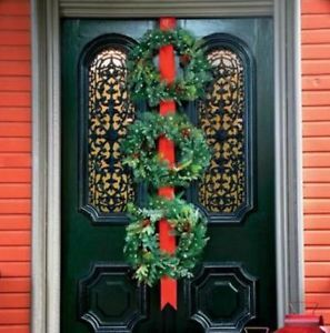 CLEARANCE Battery Operated Pre Lit 3 Wreath Door Hanger Outdoor Christmas Decor