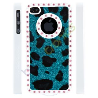 Apple iPhone 4 4S Gem Crystal Rhinestone Teal Leopard Print Glitter Plastic Case