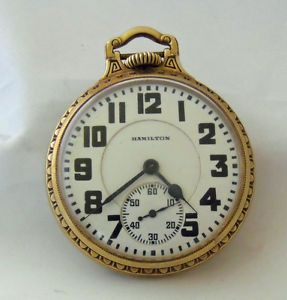 1931 Hamilton 992 Pocket Watch 21 Jewel Railroad Art Deco Gold Filled Case Orig
