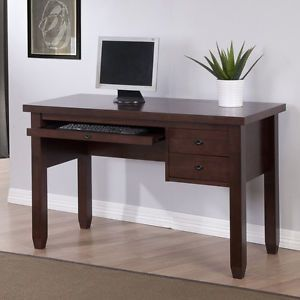Navigator Dark Brown Wood Finish Keyboard Drawer Home Office Study Computer Desk
