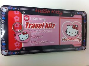 Car License Plate Frame Hello Kitty Travel Kitz with Keychain and Decal