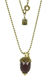 Disney Couture Icon Tinkerbell Gold Crystal Acorn Necklace