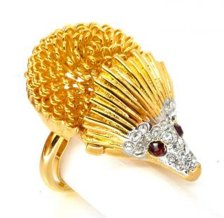 Kenneth Jay Lane KJL Gold Crystal Hedgehog Ring