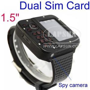 "1 5"" Unlocked GSM Dual Sim Card Mobile Cell Phone Wrist Watch Hidden Camera AK10"
