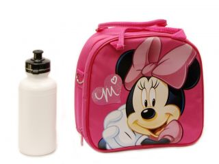 Disney's Minnie Mouse Lunch Bag w Shoulder Strap Water Bottle Pink