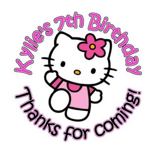 Hello Kitty Birthday Favor Stickers Labels Professional