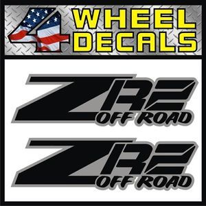 ZR2 Off Road Vinyl Decals Stickers Labels Chevy S10 Sonoma ZR 2 Black Gray